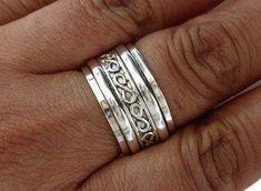 Spinner anillo plata infinito diseño inusual Spinner por MistryGems
