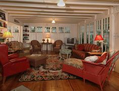 Red Sofa Of Homey Country Cottage Decorating Ideas For Living Rooms