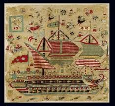 Embroidered bridal cushion with depiction of three-masted schooner, from Skyros, a Sporades island. Japanese Embroidery, Embroidery Art, Cross Stitch Embroidery, Embroidery Designs, Benaki Museum, Small Flags, Turkish Art, Turkish Style, Greek Art