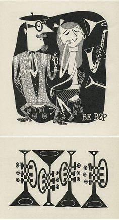 The First Book Of Jazz by Langston Hughes pics by Cliff Roberts, 1954 Music Illustration, Character Illustration, Graphic Design Illustration, Modern Graphic Design, Graphic Art, Jazz Club, Jazz Poster, Jazz Art, Mid Century Art