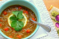 I've always loved lentil soup; it's creamy, filling and absolutely delish in my opinion! Lentils are a good source of protein, iron, dietary fiber, vitamin B1, folate and essential minerals. Fresh lemon squeezed on this soup right before serving really compliments the coriander.