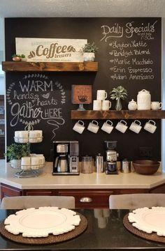 Chalkboard Coffee bar with Rae Dunn - Ingrid Ellis -You can find Coffee and more on our website.Chalkboard Coffee bar with Rae Dunn - Ingrid Ellis - Coffee Station Kitchen, Coffee Bars In Kitchen, Coffee Bar Home, Home Coffee Stations, Coffee Wine, Bar Kitchen, Coffee Bar Ideas, Coffee Kitchen Decor, Coffee Bar Station