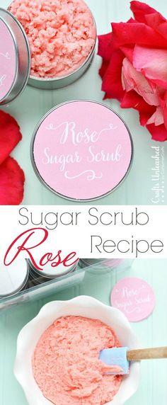 DIY Rose Homemade Sugar Scrub Recipe #crafts #beauty #DIY: