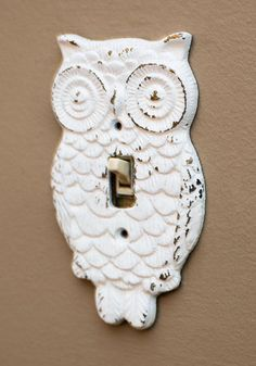 Owl Lights Out Switch Plate Cover - White, Owls, Rustic, Solid, Print with Animals, Halloween