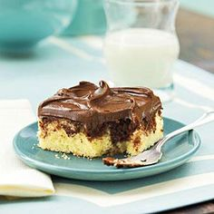 Swirl chocolate and yellow cake batter together in this marble sheetcake recipe and top with a rich mocha frosting.