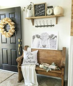 Love this idea with pretties up high away from little hands. Decorating idea. #farmhouse #pew #fall