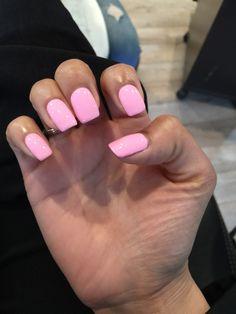 Pink acrylic nails home pink Summer Acrylic Nails, Best Acrylic Nails, Acrylic Gel, Short Square Acrylic Nails, Acrylic Shapes, Classy Nails, Stylish Nails, Roses Tumblr, Romantic Nails