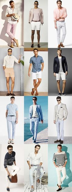 Men's French Riviera looks Summer Holiday Outfits, Summer Fashion Outfits, Trendy Fashion, Holiday Bags, Fashion Shorts, Trendy Style, Mode Masculine, Image Coach, Mode Blog