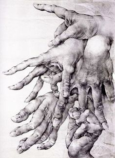 Hands by Oldřich Kulhánek #hands #fingers #mani #main - Carefully ... Life Drawing, Figure Drawing, Drawing Sketches, Painting & Drawing, Art Drawings, Drawing Hands, Sketching, A Level Art, Anatomy Drawing