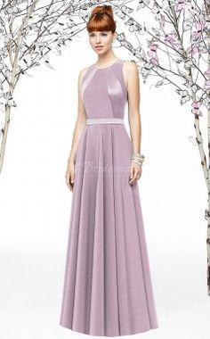 Lilac Satin A-line Jewel Floor-length Bridesmaid Dresses(BD894)