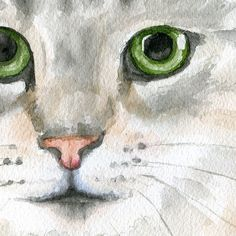 Tabby Cat with Flowers Watercolor