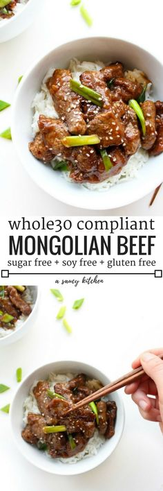 Whole 30 compliant Paleo Mongolian Beef 10 ingredients, gluten, sugar, & soy free Ready in less than 30 minutes! Whole 30 Lunch, Whole 30 Diet, Paleo Whole 30, Whole 30 Recipes, Paleo Recipes, Real Food Recipes, Cooking Recipes, Chicken Recipes, Kabob Recipes
