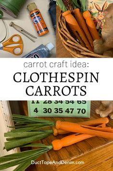 This is a fun carrot craft idea to make for your Easter decor -- DIY clothespin carrots. for women organization pin crafts Wooden Clothespin Crafts, Clothespin Cross, Wooden Clothespins, Easter Crafts, Crafts For Kids, Diy Crafts, Easter Ideas, Carrot Craft, Clothes Pin Wreath