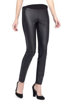 Kaari Blue™ Women's Leather Panel Leggings - True Black - Xlarge