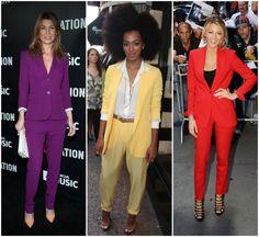 Bright suit trend red carpet celebrity purple pant suit Ellen Pompeo yellow Solange Knowles red Blake Lively