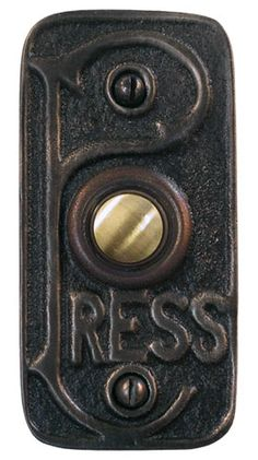 Shop for the Art Nouveau Press Doorbell Button by Waterglass Studios Ltd. and compare to other Doorbell Buttons. This rectangular doorbell button features the word PRESS in a distinctive Art Nouveau style font. Doorbell Cover, Art Nouveau, Doorbell Button, Door Knobs And Knockers, Ring My Bell, Cool Doors, Unique Doors, Door Accessories, Door Furniture