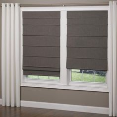 Interesting window treatment - Elegant Home Fashions Frost Gray Cordless Room Darkening Fabric Roman Shade - 48 in. W x 64 in. L - - The Home Depot Bedroom Blinds, Diy Blinds, Fabric Blinds, Curtain Fabric, Window Blinds, Bedroom Window Coverings, Patio Blinds, Shutter Blinds, Outdoor Blinds