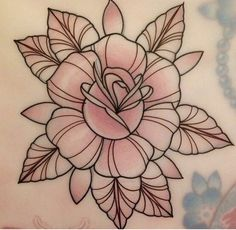 Traditional Roses, Neo Traditional Tattoo, Rose Tattoos, Flower Tattoos, Girl Tattoos, Rose Drawing Simple, Old School Rose, Flower Outline, Classic Tattoo