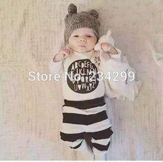 2016 nieuwkomers baby jongen kleding katoen pasgeboren brief t-shirt + broek 2 stks baby meisje kleding set baby pak peuter s