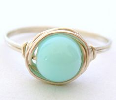 THE HAPPY BLUE peruvian opal sterling silver wire by muyinmolly on Etsy