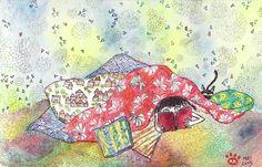 Reading (bedroom) - by Mitsuko Meignien