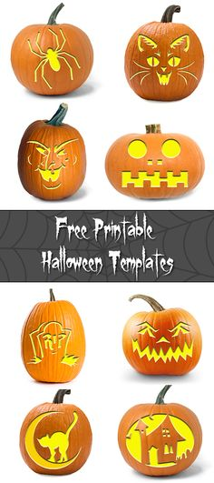 Free Halloween Templates for any craft! eHow's Halloween guide has tons of printable pumpkin carving patterns, from scary patterns to traditional pumpkin faces, that are sure to frighten all your Halloween ghouls & ghosts. Halloween Pumpkin Carving Stencils, Scary Halloween Pumpkins, Carving Pumpkins, Pumpkin Carvings, Holidays Halloween, Halloween Crafts, Halloween Activities, Halloween 2019, Printable Pumpkin Carving Patterns