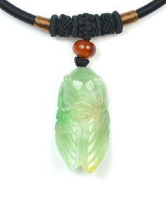 Niedliche kleine Grashüpfer Grün Jadeit Jade Halskette, Anhänger 35x20x10mm,Elegante  schwarz Cord 52cm von Feng Shui & Fortune Jewelry, http://www.amazon.de/dp/B00EMSBL9K/ref=cm_sw_r_pi_dp_NXtnsb0CD0WZ8