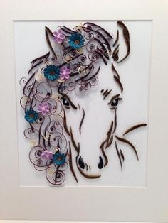 Paper Quilling, Framed Art, Horse and Flowers, - Quilled Paper Art Arte Quilling, Paper Quilling Flowers, Paper Quilling Patterns, Quilled Paper Art, Quilling Paper Craft, Paper Crafts, Quilling Ideas, Art Flowers, Quilling Images