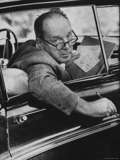Nabokov writes in his car.