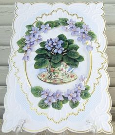 """Carol Wilson Thank You Card African Violets in Teacup by Carol Wilson Fine Arts, Inc.. $3.99. Beautifully embossed 5"""" x 7"""" greeting card with envelope."""
