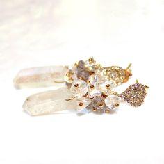Mystic Quartz Point Earrings Crystal Earrings Crystal Jewelry Quartz Earrings Saltwater Keshi Earrings Moonstone Earrings Summer Earrings by FizzCandy on Etsy