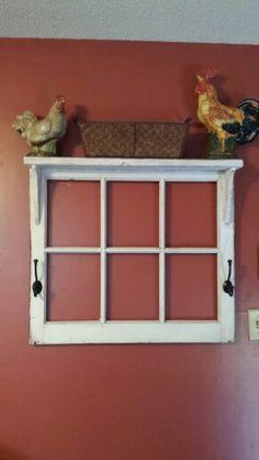 Repurposed window frame shelf. Love it!