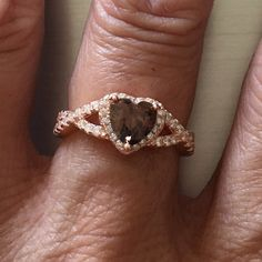 Rose Gold Plated Sterling Silver Coffee Color CZ Heart Ring, Promise Ring, Love Ring by IndigoandJade on Etsy
