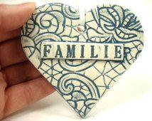 Ceramic Familie Ornament, German Heart Favor, Familie Heart, German Family, Deutsch herzen, German Gift, German Christmas