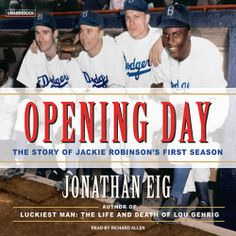 Opening Day, a #Political #Sports #History by Jonathan Eig, is part of a BIG #SALE thru 3/24.  Click the cover to sample the audio... http://amblingbooks.com/books/view/opening_day