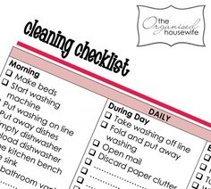 cleaning checklist...'cuz i need all the help i can get