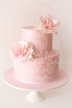 WEDDING CAKES GALLERY | Yummy Cupcakes and Wedding Cakes Delicate 2 tier in very pretty pink with stencilled lace and soft pink flowers.