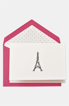 Eiffel Tower card with dotty envelope liner - LOVE!