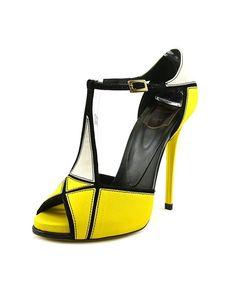 ROGER VIVIER Roger Vivier Sandal Prismick T.120 Women  Peep-Toe Leather Yellow Slingback Heel'. #rogervivier #shoes #pumps & high heels #rogervivierheels