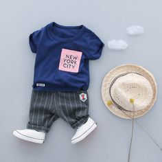 9eff1c85d 2PC Toddler Baby Boys Clothes Outfit Infant Boy Kids Shirt Tops+ ...
