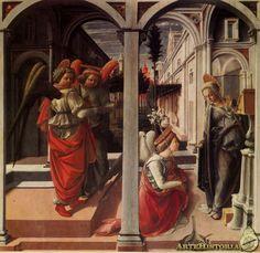 """FILIPPO LIPPI. Anunciación. 1442. Eslabón entre Masaccio y Botticelli, aunque Lippi aporta movimiento e interés por los detalles (influencia flamenca). Desarrolla profundidad (perspectiva lineal) a través del edificio, el paisaje y """"campaniles"""" y a través de las luces. La Virgen recibe al ángel mientras lee. San Gabriel porta una vara de azucenas, símbolo de pureza. El pilar y la arquería de primer plano nos introducen en la obra, igual que el jarrón. Las luces colaboran en la profundidad."""