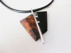 Exotic wood burl and aluminum men's necklace by NatureArtJewellery, $49.00