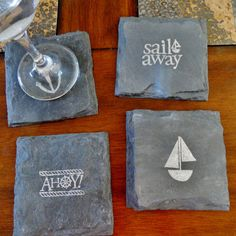 Nautical Slate Coasters Set of 4 by Scattered Treasures - Sail Away, Ahoy!, Sailboat, Anchor