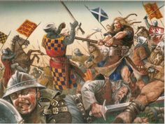 William Wallace appears to be wielding a Lochaber axe in this depiction of the Battle of Falkirk, 1298.