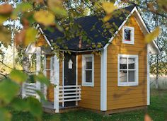 Cottage Exterior, Exterior House Colors, Yellow Cottage, Outdoor Storage Sheds, Sims House, Backyard For Kids, Soothing Colors, Play Houses, Outdoor Structures