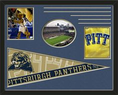 Three framed 8 x 10 inch University of Pittsburgh photos of university Of Pittsburgh Mascot (including one HORIZONTAL photo framed in an oval) with a large University of Pittsburgh pennant, double matted in team colors to 28 x 22 inches.  The lines show the bottom mat color.  The oval photo will be cropped to fit.  (Pennant design subject to change)  $159.99 @ ArtandMore.com