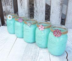 Set of 5 Upcyled Mason Canning Jars, Aqua Shabby Chic and Twine Embellished Centerpieces, Decor, Organization