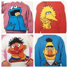 sesame street knitting pattern sweaters for children and adults dk or 4 ply intasia charts vintage character knitting – Awesome Knitting Ideas and Newest Knitting Models How To Start Knitting, Knitting For Kids, Double Knitting, Intarsia Knitting, Knitting Yarn, Baby Knitting, Knitting Sweaters, Baby Boy Knitting Patterns, Knitting Charts