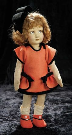 Soirée: A Marquis Cataloged Auction of Antique Dolls and Automata - May 14, 2016: Lot 201. Early Italian Felt Character Girl in Original Costume by Lenci