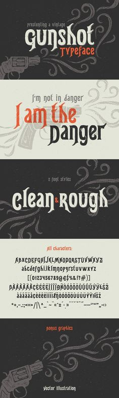 """Introducing a vintage typeface named """"Gunshot"""". It has two style variations with clean and rough characters. Also a vector illustration is included as a Western Fonts, Ttf Fonts, Typography, Lettering, Learning Letters, Font Styles, Sketch, Graphic Design, Display"""